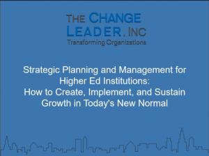 Strategic Planning and Management for Higher Ed Institutions Webinar