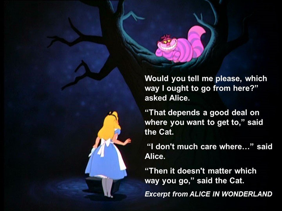 Alice in Wonderland Quote on where you're going and how to get there